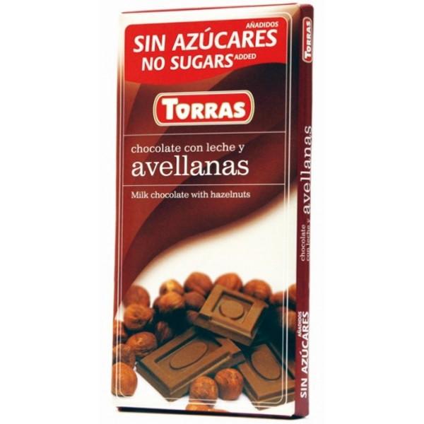 Tablette Chocolat Lait et Noisettes Sans Sucre