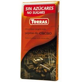 Tablette Chocolat Noir et Fêves de Cacao Sans  Sucre