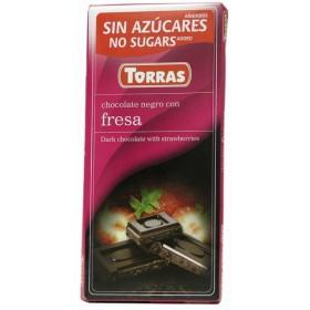 Tablette Chocolat Noir et Fraises Sans Sucre