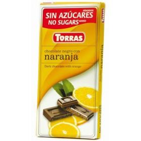 Tablette Chocolat Noir Éclats d'Orange Sans Sucre