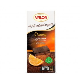 Tablette de Chocolat Noir Mousse d'Orange 70% Cacao Sans Sucre avec Édulcorant pour diabétique V