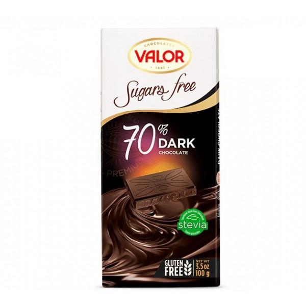 Tablette Chocolat Noir 70% Sans Sucre avec Édulcorant ajouté  V