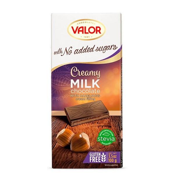 Tablette Chocolat Lait et Mousse de Noisettes Sans Sucre avec Édulcorant V
