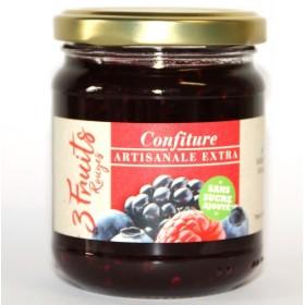Confiture 3 Fruits Rouges ARTISANALE EXTRA Sans Sucre avec Édulcorant Pour Diabétiques
