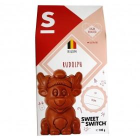 Figurine Rudolph, Renne en chocolat au lait sans sucre ajouté 100 g - SW